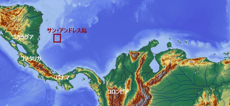 サン・アンドレス島の位置と地図